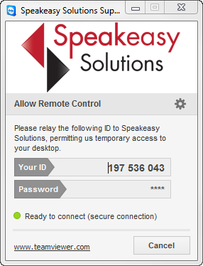 Speakeasy Solutions TeamViewer Support Logon