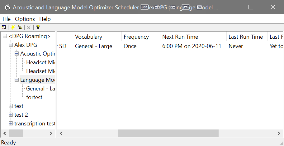 Dragon acoustic and language model optimizer scheduler
