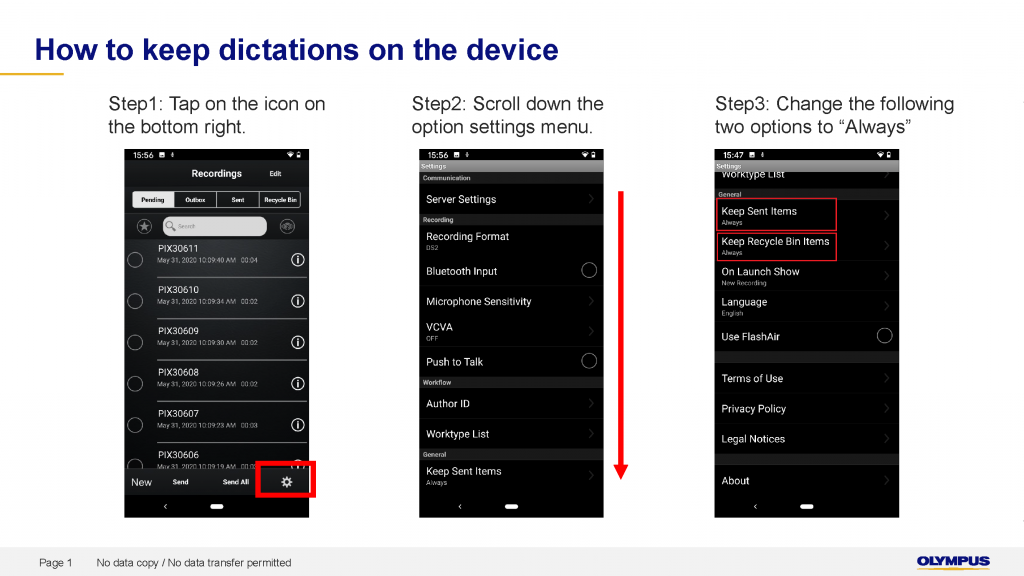 Olympus How to keep dictations on device