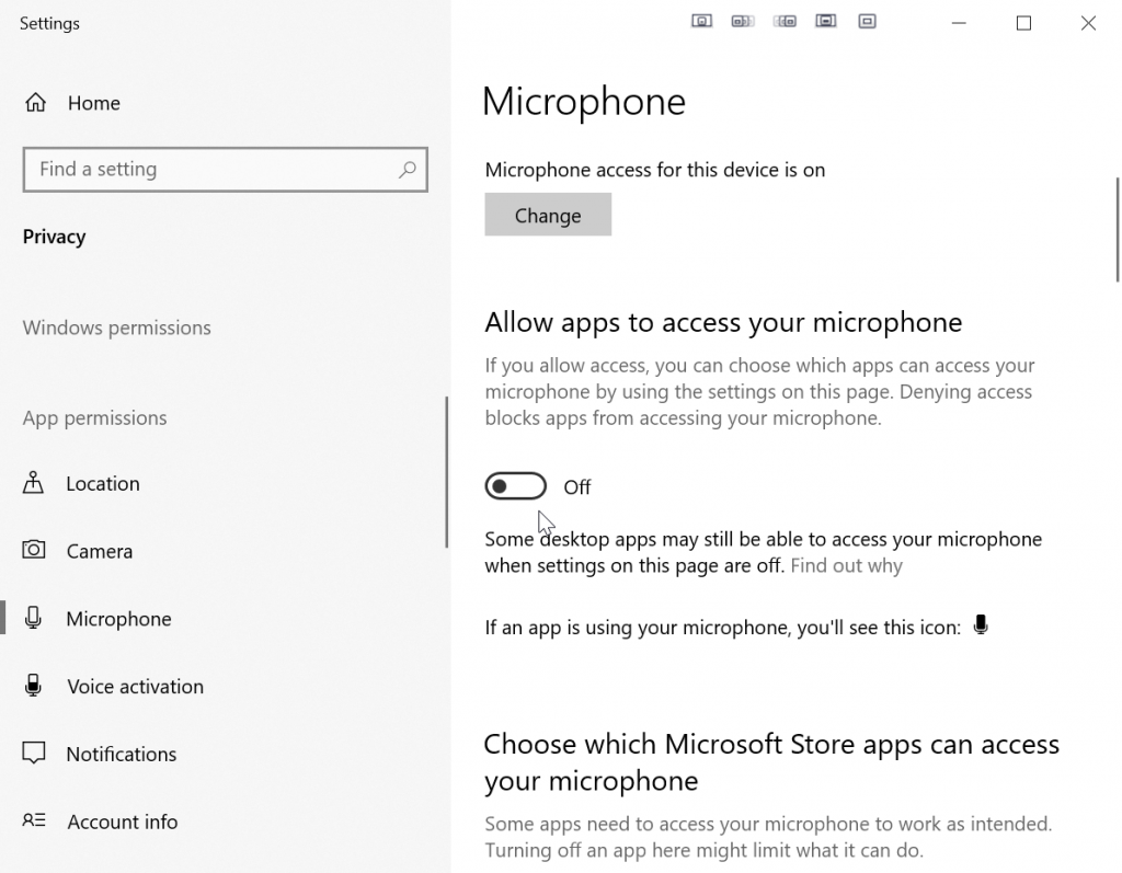 Accessing microphone privacy settings on Windows